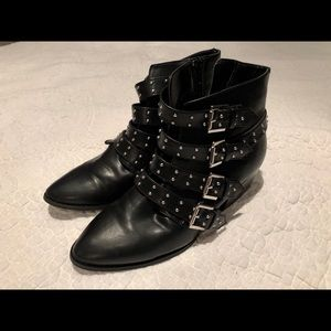 Black Faux Leather Studded Boots